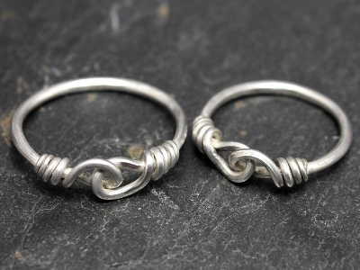 Sterling silver knotted wedding bands