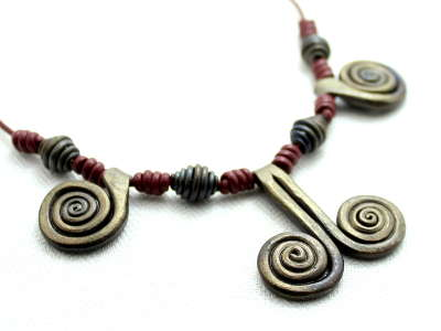 Iron and leather Spiral necklace