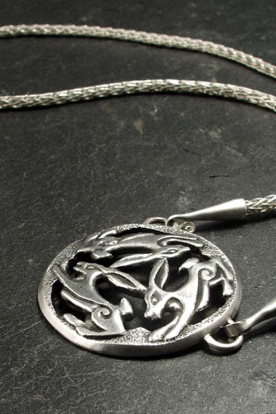 Silver triple hare necklace on Viking knit chain